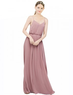 A-Line Spaghetti Straps Scoop Floor Length Long Dusty Pink Chiffon Aya Bridesmaid Dress for Sale