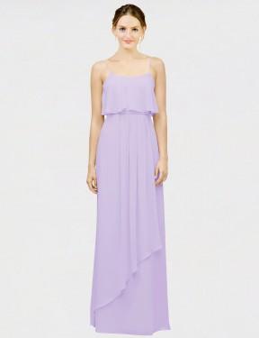 A-Line Spaghetti Straps Scoop Floor Length Long Lilac Chiffon Senait Bridesmaid Dress for Sale