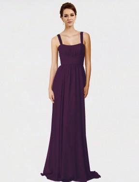 A-Line Spaghetti Straps Sweep Train Long Grape Chiffon Aurelia Bridesmaid Dress for Sale