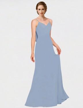 A-Line Spaghetti Straps Sweetheart Floor Length Long Dusty Blue Chiffon Mavis Bridesmaid Dress for Sale