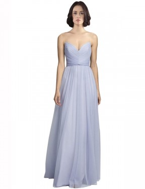 A-Line Spaghetti Straps Sweetheart Floor Length Long Lilac Tulle Roselyn Bridesmaid Dress for Sale