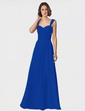 A-Line Spaghetti Straps Sweetheart Floor Length Long Royal Blue Chiffon Antonella Bridesmaid Dress for Sale