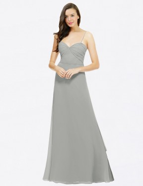 A-Line Spaghetti Straps Sweetheart Floor Length Long Silver Chiffon Valarie Bridesmaid Dress for Sale