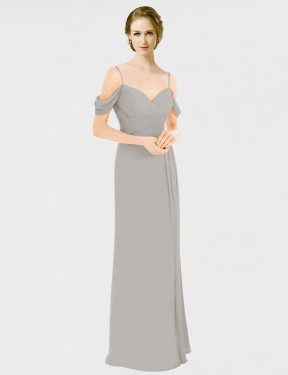 A-Line Spaghetti Straps Sweetheart Off the Shoulder Floor Length Long Silver Chiffon & Lace Tori Bridesmaid Dress for Sale