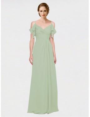 A-Line Spaghetti Straps Sweetheart Off the Shoulder Floor Length Long Smoke Green Chiffon Joyce Bridesmaid Dress for Sale