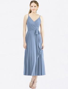 A-Line Spaghetti Straps Tea Length Long Dusty Blue Chiffon Heaven Bridesmaid Dress for Sale