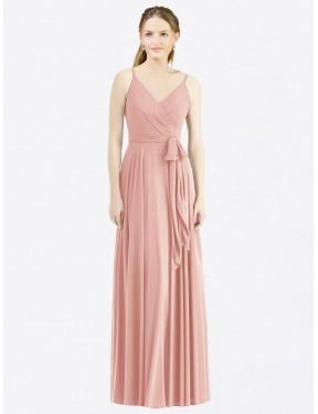 A-Line Spaghetti Straps V-Neck Floor Length Long Bliss Chiffon Madilyn Bridesmaid Dress for Sale
