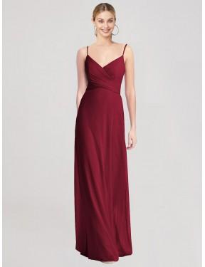 A-Line Spaghetti Straps V-Neck Floor Length Long Burgundy Chiffon Brea Bridesmaid Dress for Sale