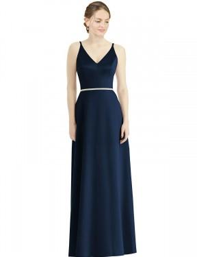 A-Line Spaghetti Straps V-Neck Floor Length Long Dark Navy Satin Lia Bridesmaid Dress for Sale