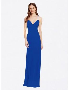 A-Line Spaghetti Straps V-Neck Floor Length Long Royal Blue Chiffon Jenai Bridesmaid Dress for Sale