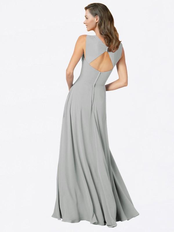 A-Line Spaghetti Straps V-Neck Floor Length Long Silver Chiffon Ofelia Bridesmaid Dress for Sale