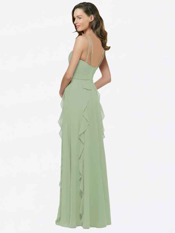 A-Line Spaghetti Straps V-Neck Floor Length Long Smoke Green Chiffon Cristine Bridesmaid Dress for Sale