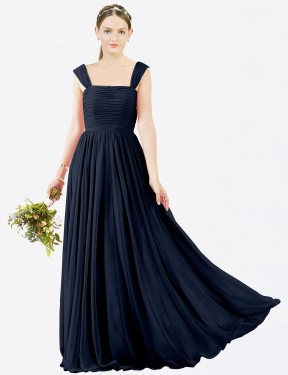 A-Line Square Floor Length Long Dark Navy Chiffon Sofia Bridesmaid Dress for Sale