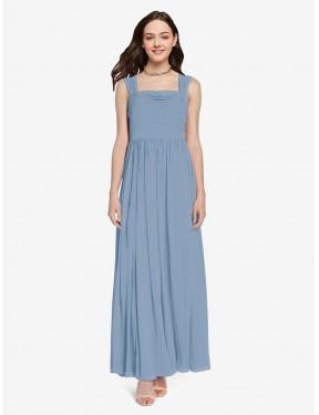 A-Line Square Floor Length Long Dusty Blue Chiffon Aldridge Bridesmaid Dress for Sale