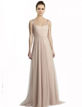 A-Line Square Floor Length Long Nude Tulle Jeilyn Bridesmaid Dress for Sale