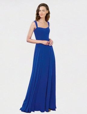 A-Line Square Floor Length Long Royal Blue Chiffon Caitlin Bridesmaid Dress for Sale