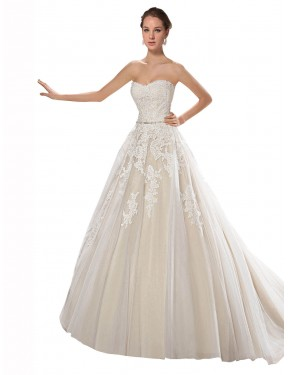 A-Line Strapless Chapel Train Long Ivory & Champagne Tulle & Lace Lilliana Wedding Dress for Sale