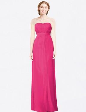 A-Line Strapless Floor Length Long Azalea Chiffon Alicia Bridesmaid Dress for Sale