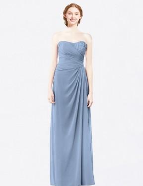 A-Line Strapless Floor Length Long Dusty Blue Chiffon Ainsley Bridesmaid Dress for Sale