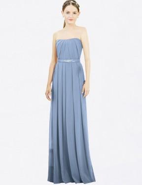 A-Line Strapless Floor Length Long Dusty Blue Chiffon Katie Bridesmaid Dress for Sale