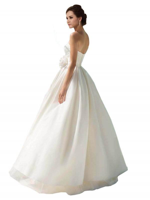 A-Line Strapless Floor Length Long Ivory Chiffon Briella Wedding Dress for Sale