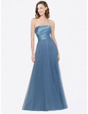 A-Line Strapless Floor Length Long Satin & Tulle Donna Bridesmaid Dress for Sale
