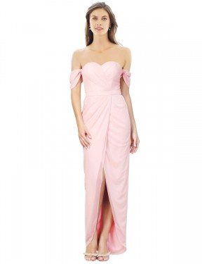 A-Line Strapless High Low Long Pink Chiffon Gladis Bridesmaid Dress for Sale