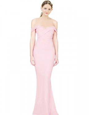 A-Line Strapless High Low Long Pink Stretch Crepe Ayad Bridesmaid Dress for Sale