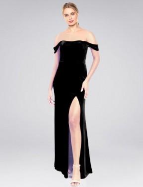 A-Line Strapless Off the Shoulder Floor Length Long Black Stretch Velvet Zelaya Bridesmaid Dress for Sale
