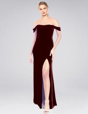 A-Line Strapless Off the Shoulder Floor Length Long Burgundy Stretch Velvet Zelaya Bridesmaid Dress for Sale