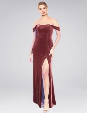 A-Line Strapless Off the Shoulder Floor Length Long Cinnamon Rose Stretch Velvet Zelaya Bridesmaid Dress for Sale