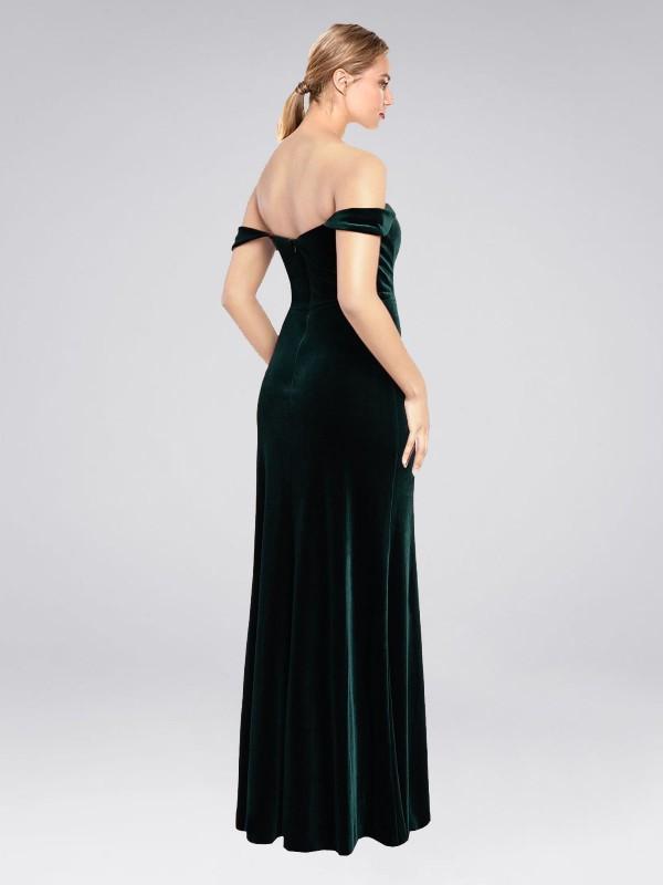 A-Line Strapless Off the Shoulder Floor Length Long Dark Green Stretch Velvet Zelaya Bridesmaid Dress for Sale