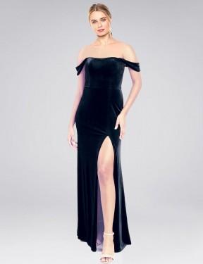 A-Line Strapless Off the Shoulder Floor Length Long Dark Navy Stretch Velvet Zelaya Bridesmaid Dress for Sale