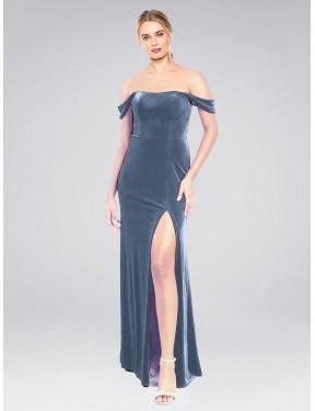 A-Line Strapless Off the Shoulder Floor Length Long Dusty Blue Stretch Velvet Zelaya Bridesmaid Dress for Sale