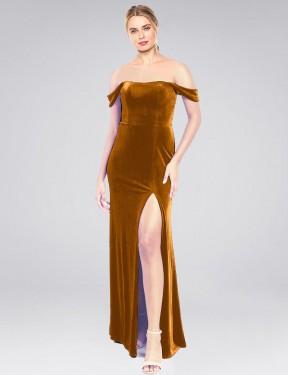 A-Line Strapless Off the Shoulder Floor Length Long Gold Stretch Velvet Zelaya Bridesmaid Dress for Sale