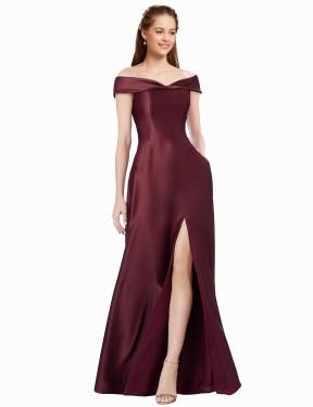 A-Line Strapless Off The Shoulder Floor Length Long Satin Ula Bridesmaid Dress for Sale