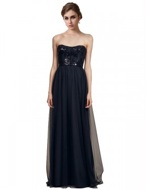 A-Line Strapless Sweetheart Floor Length Long Black Tulle Reyna Bridesmaid Dress for Sale