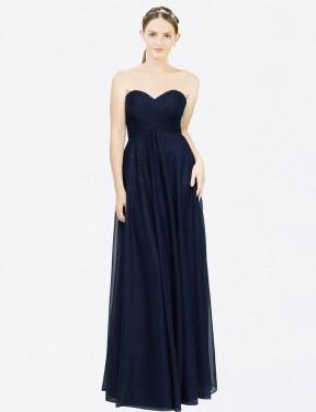 A-Line Strapless Sweetheart Floor Length Long Dark Navy Chiffon Malani Bridesmaid Dress for Sale