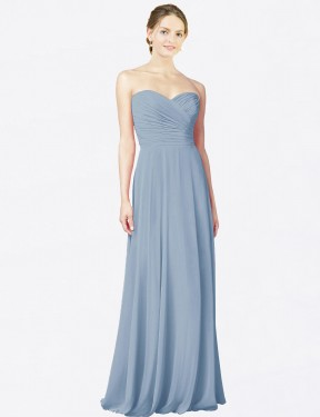 A-Line Strapless Sweetheart Floor Length Long Dusty Blue Chiffon Hana Bridesmaid Dress for Sale