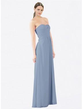 A-Line Strapless Sweetheart Floor Length Long Dusty Blue Chiffon Sophia Bridesmaid Dress for Sale