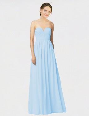 A-Line Strapless Sweetheart Floor Length Long Light Sky Blue Chiffon Jamesha Bridesmaid Dress for Sale