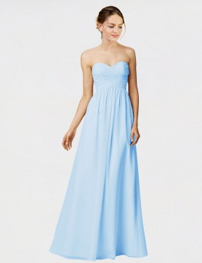 A-Line Strapless Sweetheart Floor Length Long Light Sky Blue Chiffon Manite Bridesmaid Dress for Sale