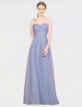 A-Line Strapless Sweetheart Floor Length Long Light Sky Blue Tulle Kallie Bridesmaid Dress for Sale