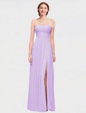 A-Line Strapless Sweetheart Floor Length Long Lilac Chiffon Cynthia Bridesmaid Dress for Sale