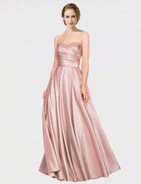 A-Line Strapless Sweetheart Floor Length Long Pink Stretch Satin Aliana Bridesmaid Dress for Sale