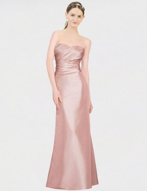 A-Line Strapless Sweetheart Floor Length Long Pink Stretch Satin Whitney Bridesmaid Dress for Sale