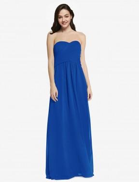 A-Line Strapless Sweetheart Floor Length Long Royal Blue Chiffon Jenner Bridesmaid Dress for Sale