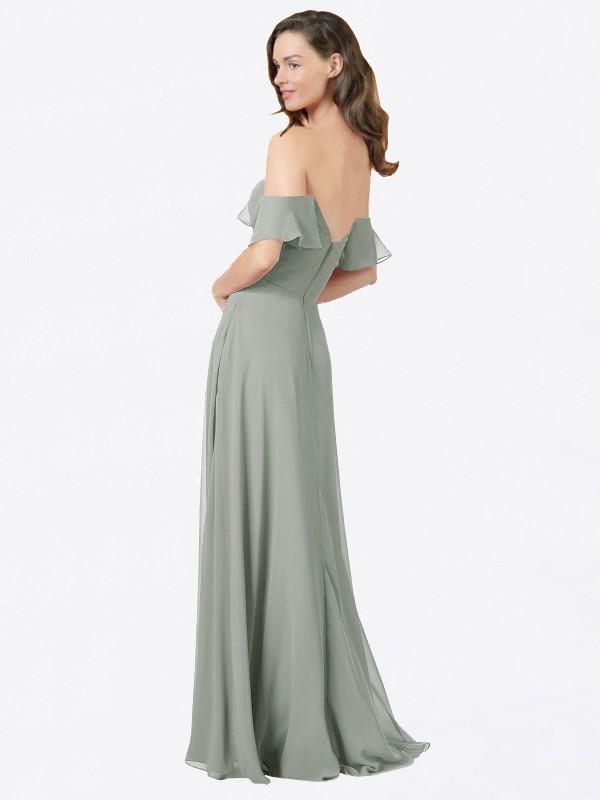 A-Line Strapless Sweetheart Floor Length Long Silver Chiffon Jamila Bridesmaid Dress for Sale