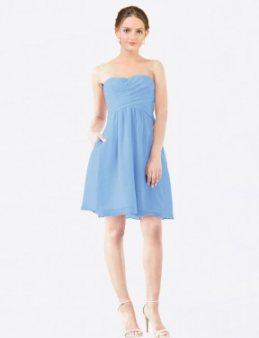 A-Line StraplessSweetheart Knee Length Short Periwinkle Chiffon Avery Bridesmaid Dress for Sale