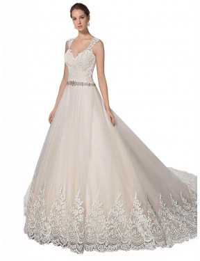 A-Line Sweetheart Chapel Train Long Ivory & Champagne Tulle & Lace Ember Wedding Dress for Sale